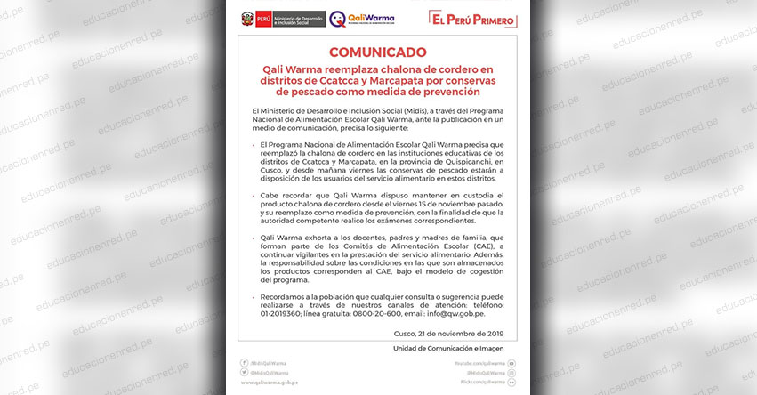 COMUNICADO MIDIS: Qali Warma reemplaza chalona de cordero en distritos de Ccatcca y Marcapata (Cusco) por conservas de pescado, como medida de prevención - www.qaliwarma.gob.pe