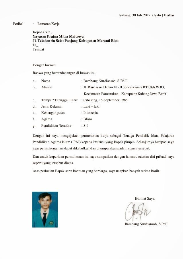 Contoh Resume Lamaran Kerja Bahasa Inggris