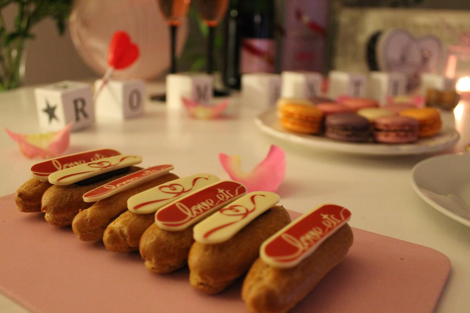 saint valentin coeur love amoureux valentines day gh mumm champagne rosé macarons picard éclairs rose