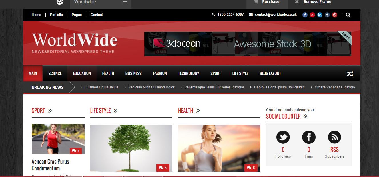 World Wide- News and Editorial Wordpress theme