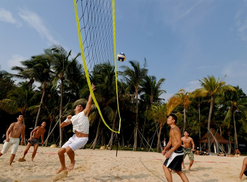 march school holiday sentosa siloso beach volleyball