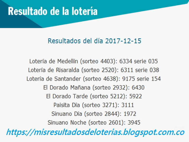 Como jugo la lotería anoche   Resultados diarios de la lotería y el chance   resultados del dia 15-12-2017