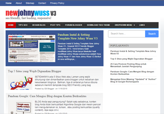 New Johny Wuss V3 Blogger Template SEO Responsive