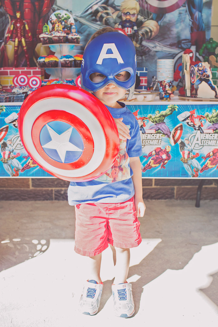 Captain America shield and mask for boy's birthday party
