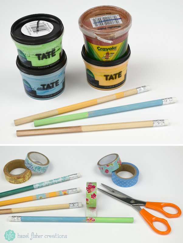3 Techniques to Decorate Pencils - back to school diy stationery project; paint and washi tape. Hazel Fisher Creations