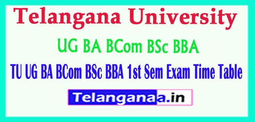 Telangana University TU UG BA BCom BSc BBA  Exam Time Table