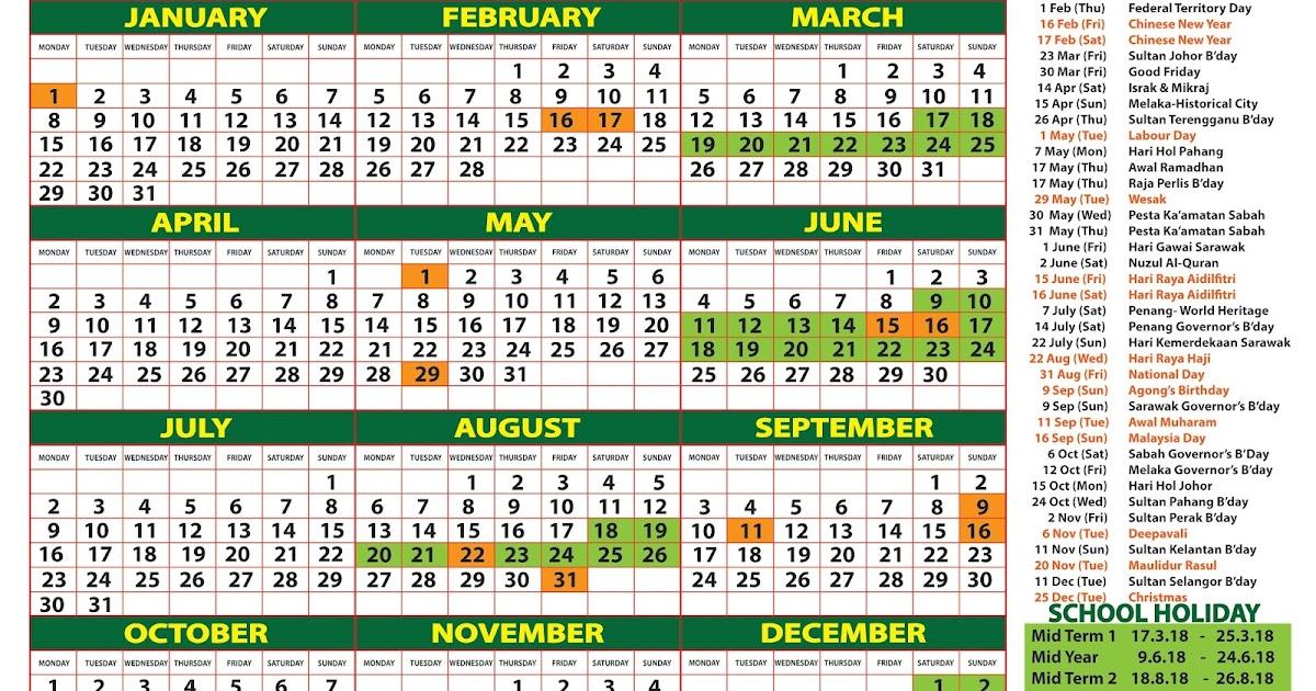 2018 Calendar Malaysia - Kalendar 2018