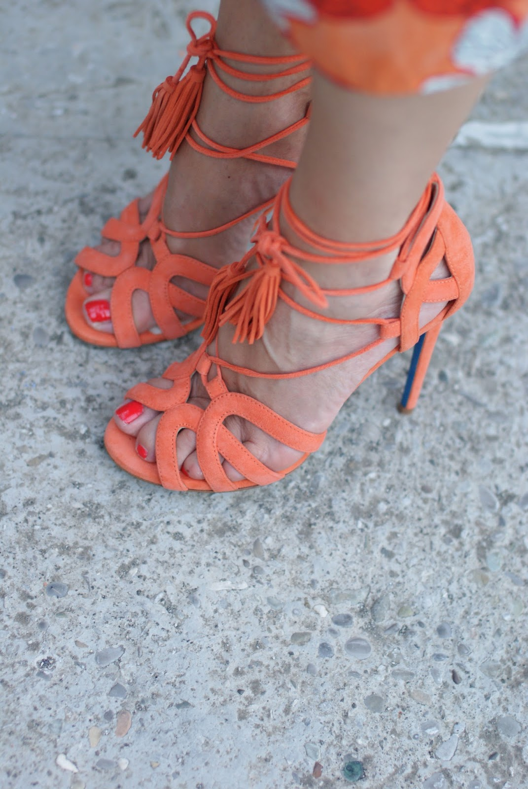 Loriblu orange lace-up suede heel sandals on Fashion and Cookies fashion blog, fashion blogger style