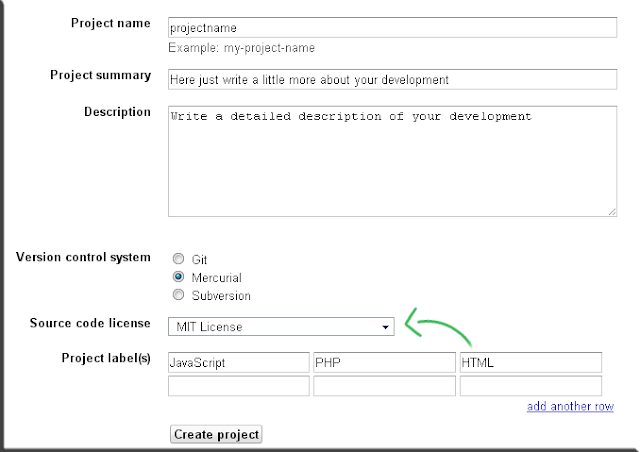 Google Project Hosting, Create a New Project