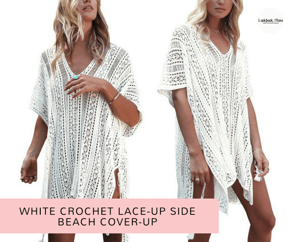 White Crochet Lace-Up Side Beach Cover-Up | Lookbook Store