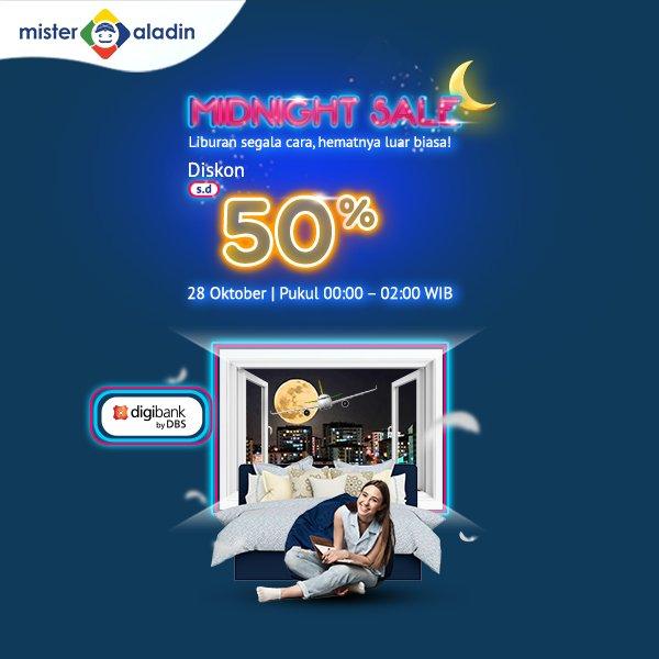 MisterAladin - Promo Midnight Sale Diskon s.d 50% Hotel Pesawat & kereta ( 28 Okt 2018)