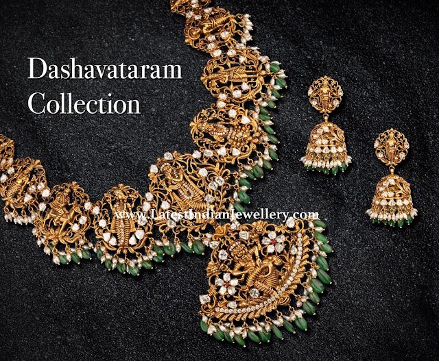 Nakshi Work Dasavatharam Necklace
