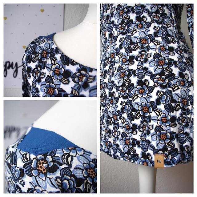 Collage Shirt Frau Marlene aus Stoff mit Blumen Schnittmuster von frizi & schnittreif selbst genähte Damen Oberteil Longsleeve mit Schultereinsätzen