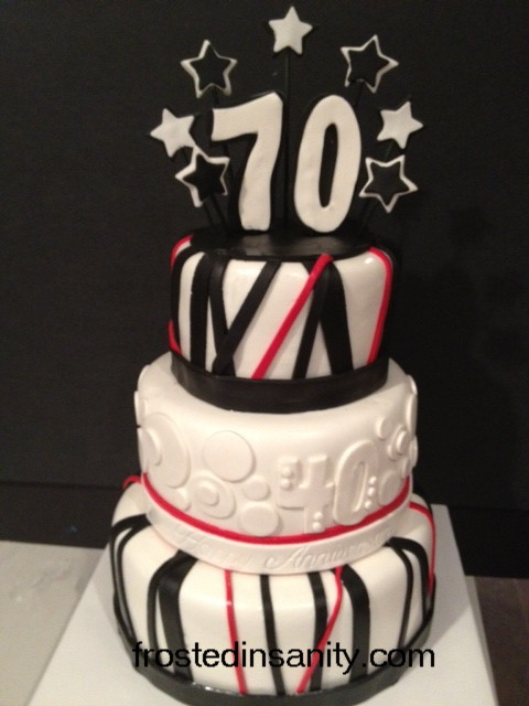 70th Birthday Cake With A 40th Wedding Anniversary Thrown In Note The Embossed Happy On Middle Band