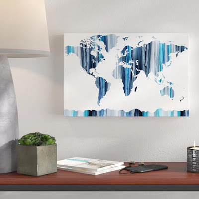 Blue World Map Silhouette by artist illustrator Irina Sztukowski