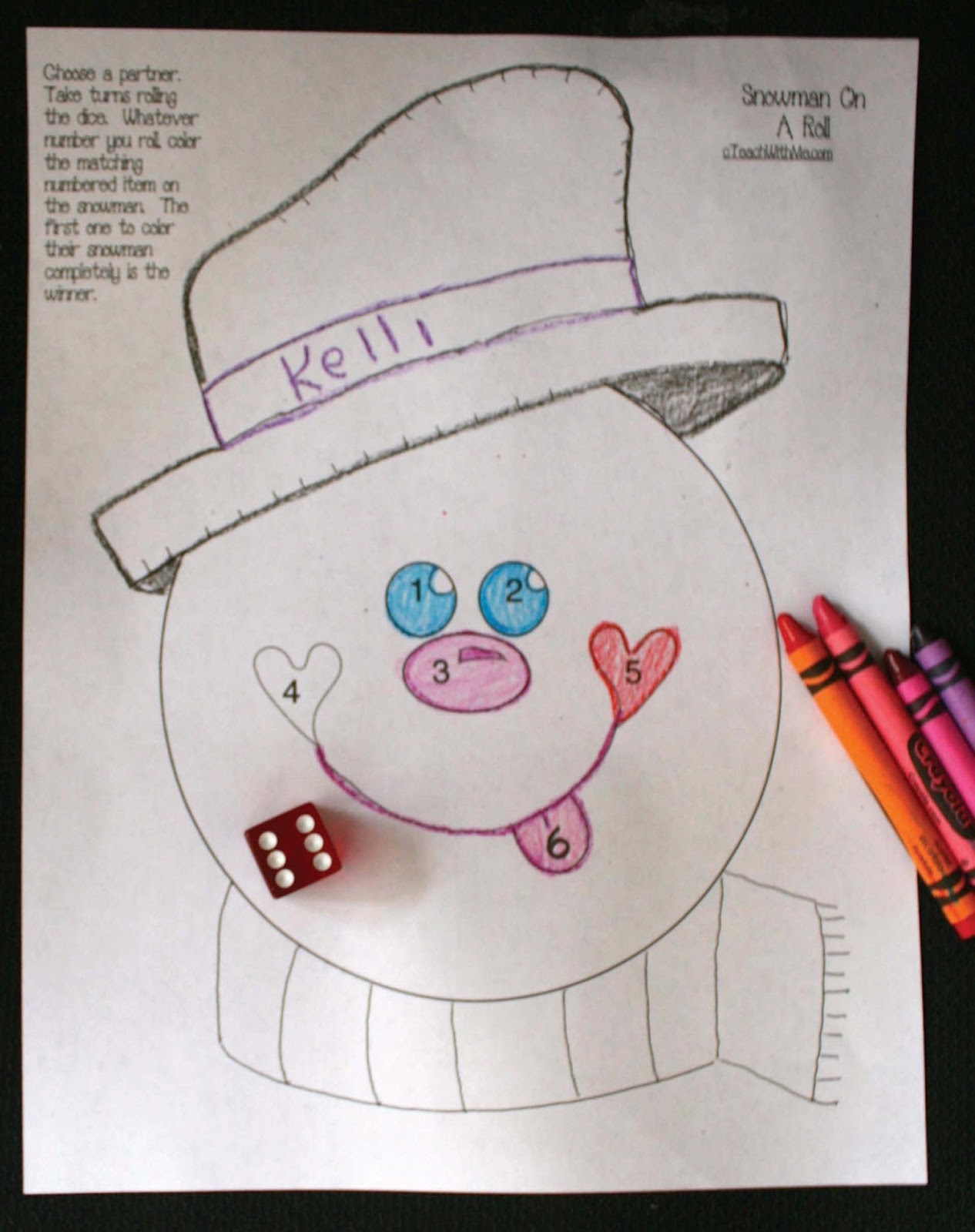 Snowman On A Roll Dice Game Math Center