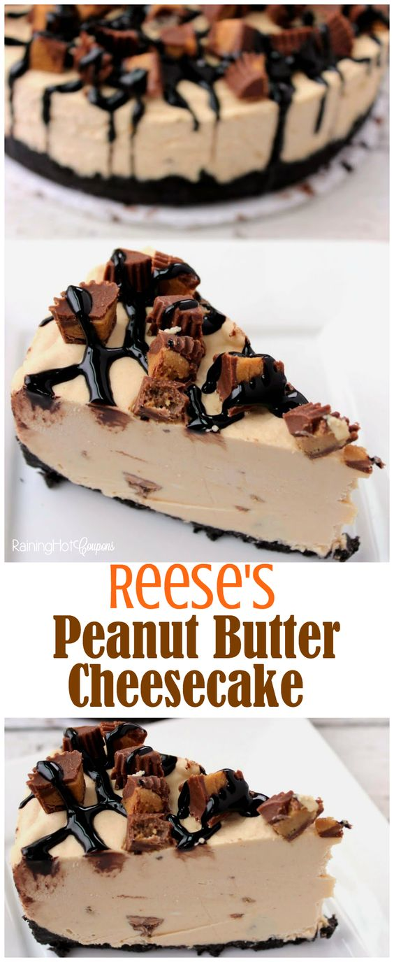 Reese's Peanut Butter No Bake Cheesecake #peanut #butter #nobake #cheesecake #cakerecipes #dessert #dessertrecipes