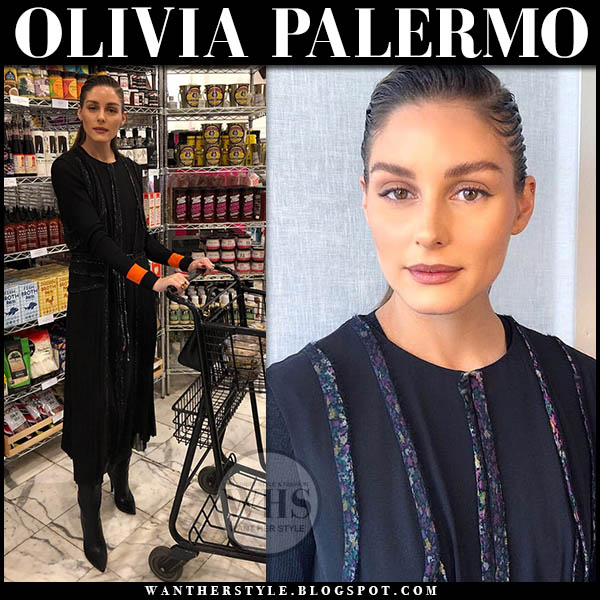 Olivia Palermo wears black wrap midi dress jason wu black sweater and black boots new york fashion week outfits 2019