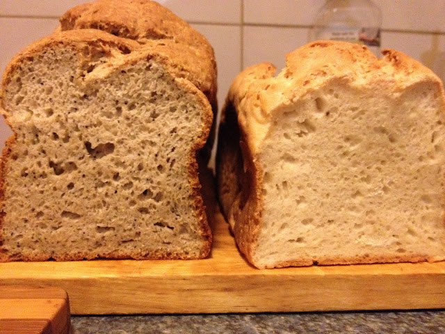 xanthan gum loaves - wholegrain and white