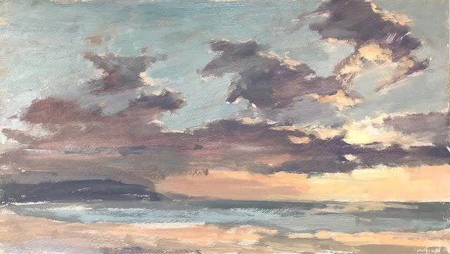 #299 'Sunset, Woolacombe Beach' 8×14″