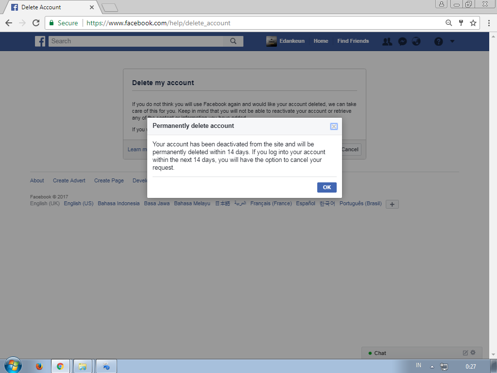 Very easy how to delete facebook account easily edankeun so facebook isnt really delete your account permanently but facebook just rest your account from the activity and you can freely reaccess your account ccuart Choice Image