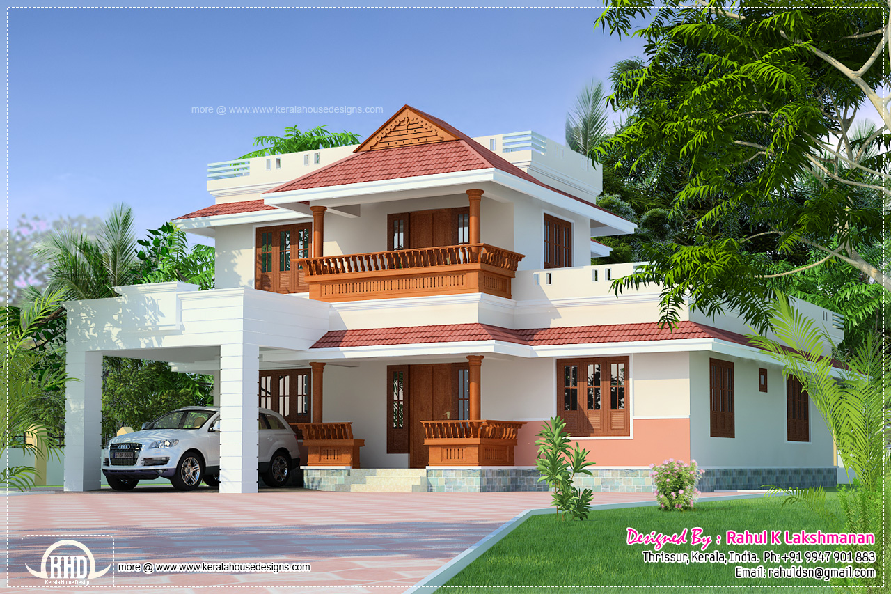 Beautiful kerala home in 1800 house design plans for Kerala house plans 2014