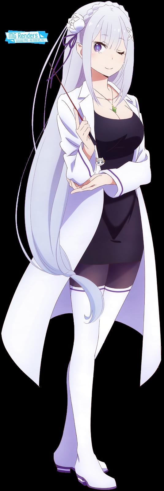 Tags: Anime, Render,  Dress,  Elf,  Emilia,  Full body,  Re Zero Kara Hajimeru Isekai Seikatsu,  PNG, Image, Picture