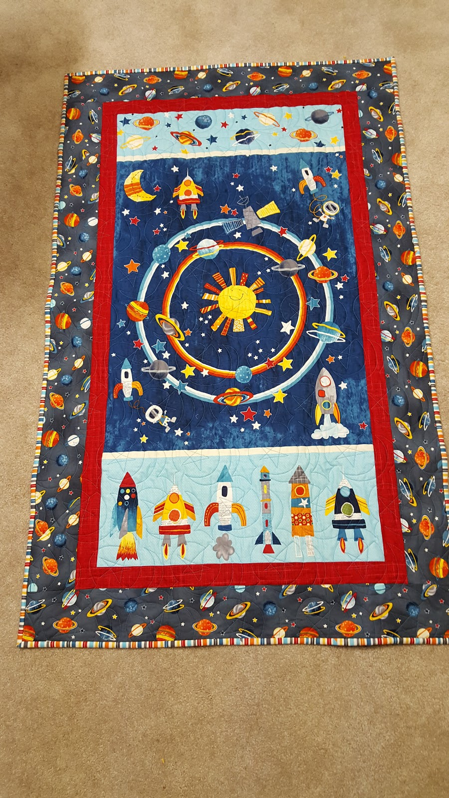 Busy hands are happy hands finish it up friday space for Spaceship quilt