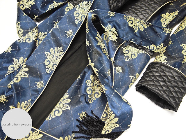 Men's silk dressing gown quilted robe paisley