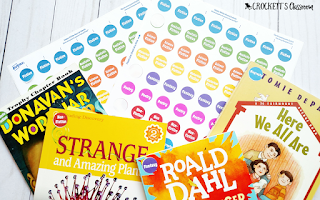 Genre stickers (freebie!) to put on your resources and books.  They're a great way to see if you have a wide variety of genres available for your students.