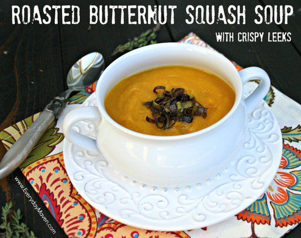 Roasted Butternut Squash Soup with Crispy Leeks by Everyday Maven
