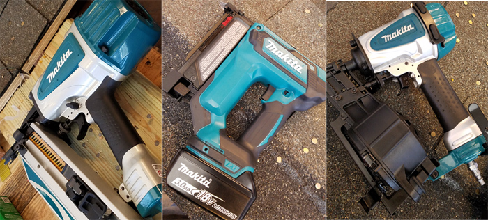 Makita cordless brad and roofing nailers