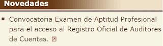 Convocatoria examen aptitud profesional inscripción ROAC