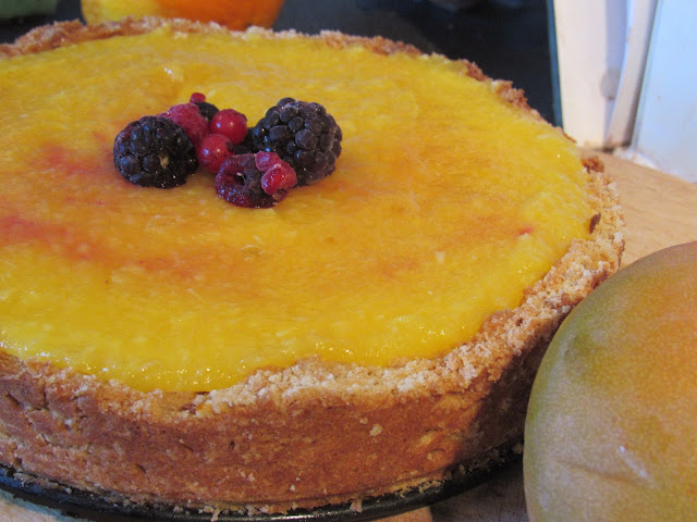 Mango, Berry and Coconut Custard Tart