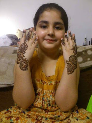 Girl Kid With Mehndi Design
