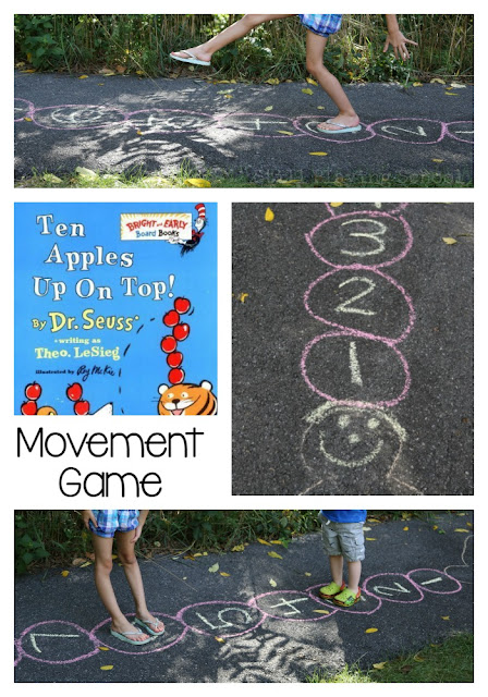 Ten Apples Up On Top Movement Game for Kids This is the perfect gross motor idea for an apple theme in preschool!
