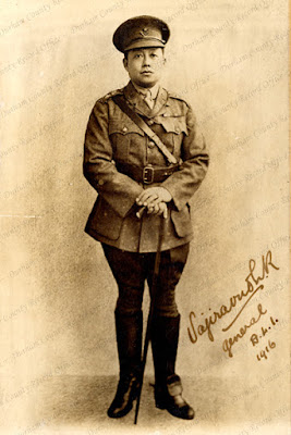 Vajiravudh, King of Siam, Rama VI, in ans officers uniform of the Durham Light Infantry, 1916 (D/DLI 2/2/384)