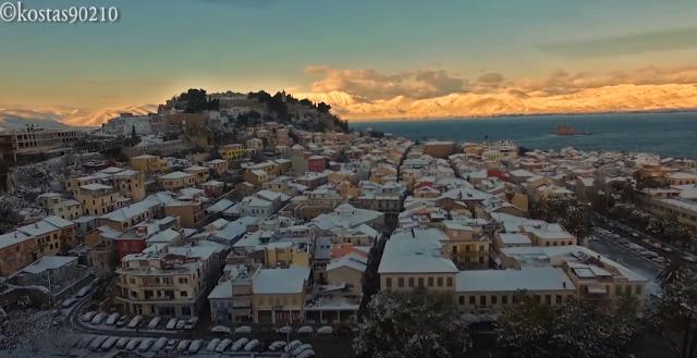 Θα πάθετε πλάκα: Το Ναύπλιο χιονισμένο από ψηλά (drone βίντεο)
