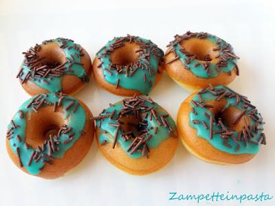 Mini donuts senza burro con glassa alla menta - Mini ciambelle