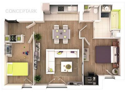 Gambar Desain Interior Rumah Tipe 36 Luas Tanah 60 M2 Sederhana