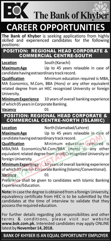 Latest Vacancies Announced in The Bank Of Khyber Islamabad 31 October 2018 - Naya Pakistan
