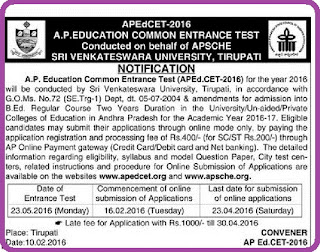 AP Edcet-2016 Notification | AP Education Common Entrance Test Notificatioln-2016 | Sri Venkateshwara University has released EdCet-2016 Notification on Behalf of AP State Council for Higher Education | SVU has issued B.Ed Entrance Test Notification-2016 on behalf of APSCHE http://www.paatashaala.in/2016/02/ap-edcet-2016-education-common-entrance-test-notification-svu-apsche.html