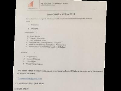 Lowongan via Email PT Sukses Indonesia Maju