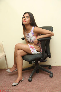 Nishi Ganda stunning cute in Flower Print short dress at Tick Tack Movie Press Meet March 2017 112.JPG