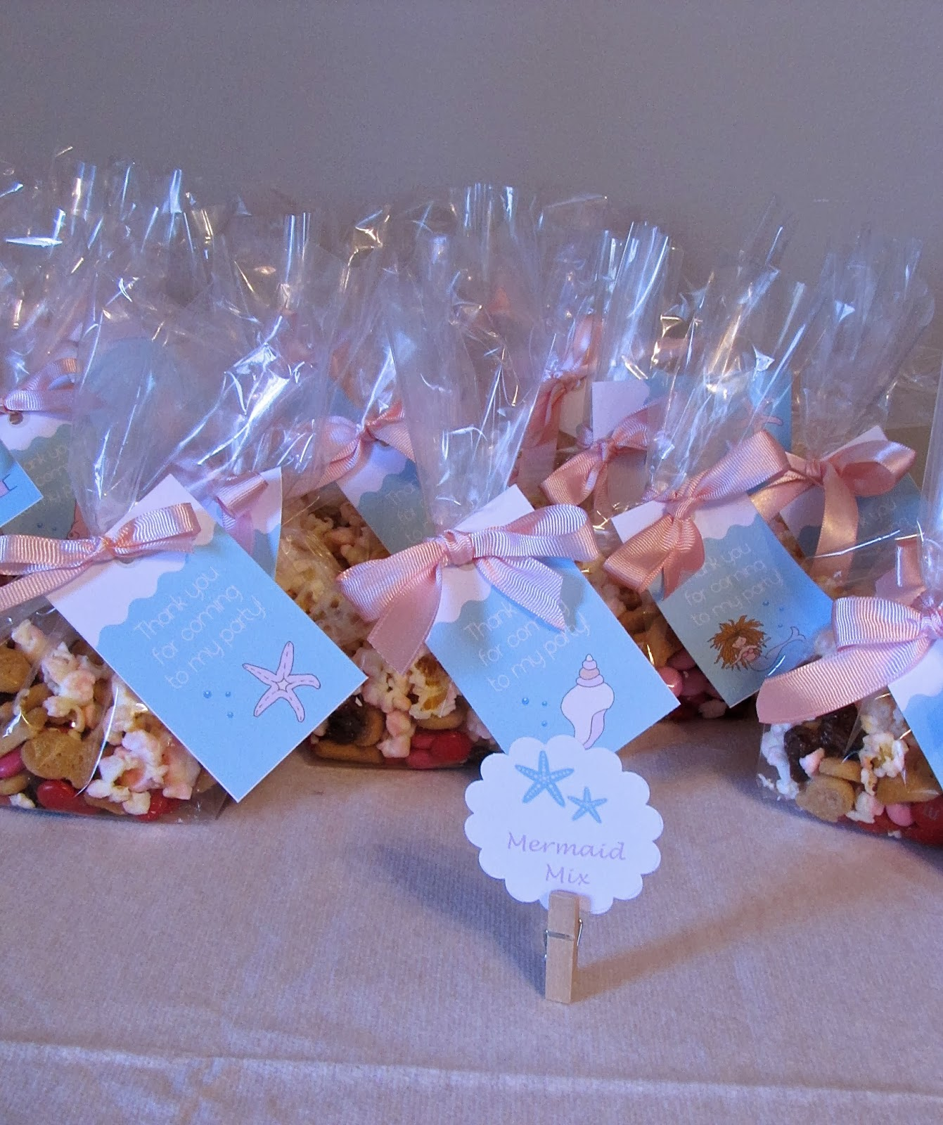 mermaid birthday party trail mix favors