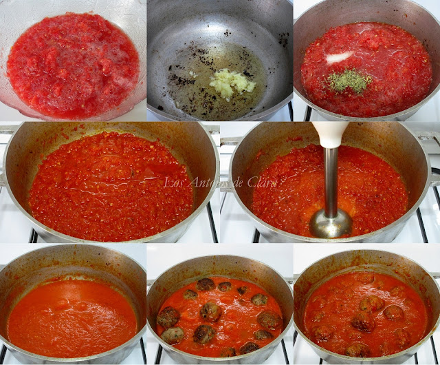 Preparación albóndigas en salsa
