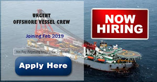 Seaman job hiring Able Seaman, Crane Operator, Fitter For Offshore Vessel
