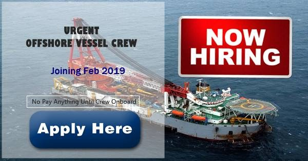 able seaman  crane operator  fitter for offshore vessel