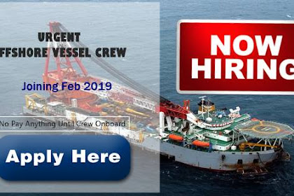 Able Seaman, Crane Operator, Fitter For Offshore Vessel