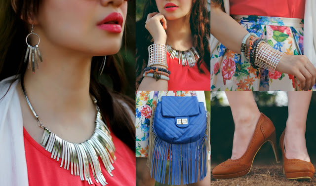 Silver Necklace, Silver earrings, Silver Cuff Bracelet,Bangles, Rocky Star Brown Round-toe Pumps, Blue Fringe Bag,Women's Summer Fashion,Shoppers Stop Spring Summer Collection 2016